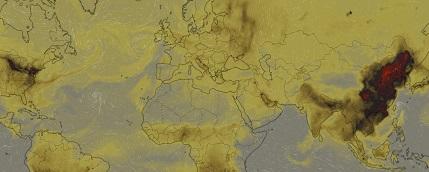 Carte générée sur www.windy.com montrant les teneurs de CO2 à la surface de la terre le 30 Septembre 2019